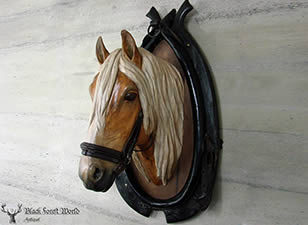 carved wood horse head haflinger