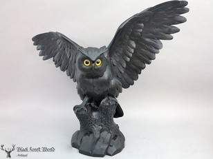 Black forest carved owl signed