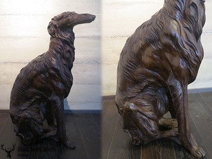 black forest carved dog borzoi