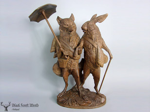 Black forest carved fox and rabbit