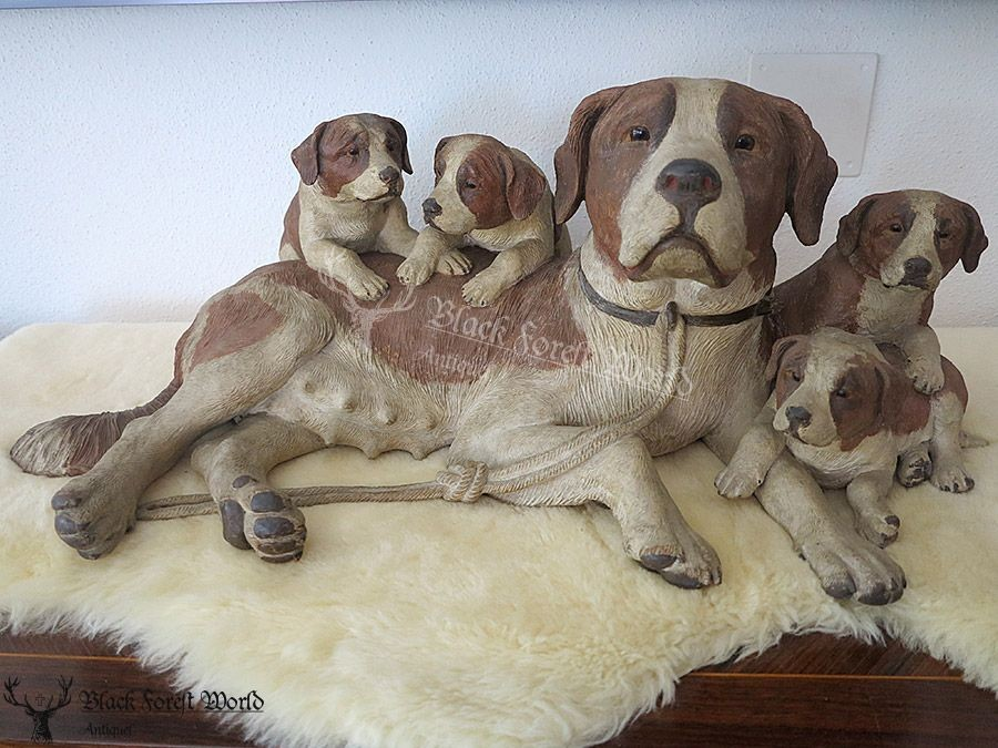 Black Forest Wood Carving Dogs