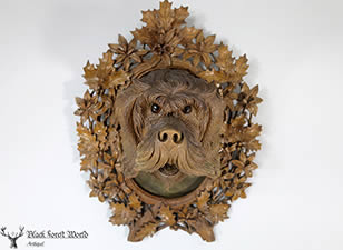 Black forest carved dog head