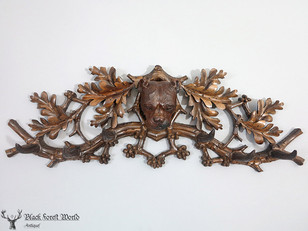 black forest carved dog coat rack